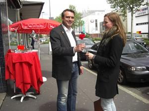 Eine rote Rose zum Jubiläum der SPD.